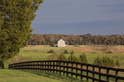 Fence, Field and Barn in the Fall at Sunset in Louisa County, Virginia
