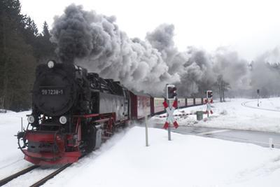 Meter-gauge 2-10-2T Steam Locomotive 99 7238-1 in a Snowy Landscape by Kent Kobersteen