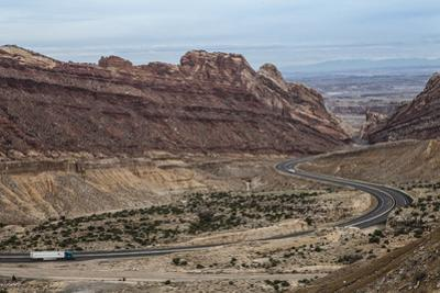 Us Interstate Highway 70 Winds Through Spotted Wolf Canyon in Eastern Utah