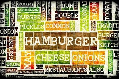Hamburger Menu in a American Fast Food Restaurant