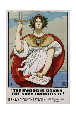 The Sword Is Drawn the Navy Upholds It! Recruitment Poster by Kenyon Cox