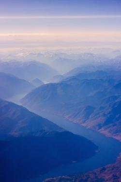 Aerial View of Columbia River Valley, Mountains, USA by Keren Su
