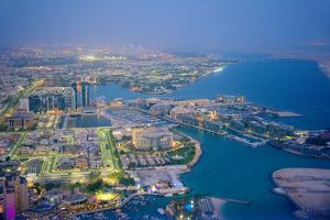 Aerial view of marina, Abu Dhabi, United Arab Emirates. by Keren Su