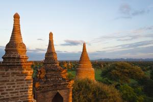 Ancient temples and pagodas at sunset, Bagan, Mandalay Region, Myanmar by Keren Su