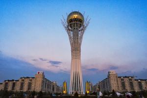 Bayterek Tower representing a poplar tree holding a golden egg. Astana, Kazakhstan. by Keren Su