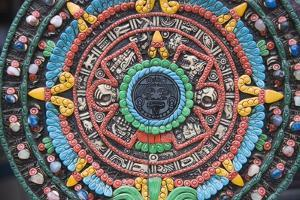 Carved and Painted Aztec Calendar Design by Keren Su