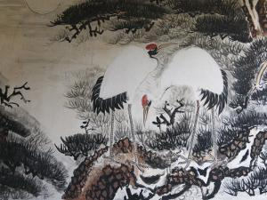 China, Chinese Brush Painting of Red-Crowned Cranes by Keren Su