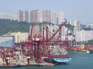 China, Hong Kong, Busy Harbor with Ships and Containers by Keren Su