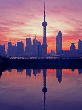 China, Shanghai, Oriental Pearl Tv Tower with Pudong Skyline at Sunrise by Keren Su