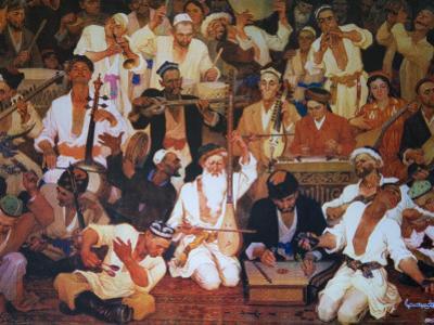 China, Silk Road, Xinjiang Province, Hotan, Painting of Uighur Music Performance