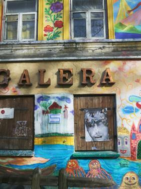 Colorfully Painted Wall in the Old Town, Vilnius, Lithuania by Keren Su