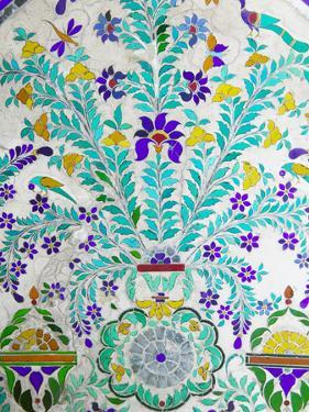 Decorated Tile Painting at City Palace, Udaipur, Rajasthan, India by Keren Su