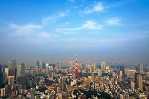 Downtown skyline dominated by Tokyo Tower, Tokyo, Japan by Keren Su