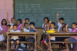 Education, Students Having a Class in a Village School, Bohol Island, Philippines by Keren Su