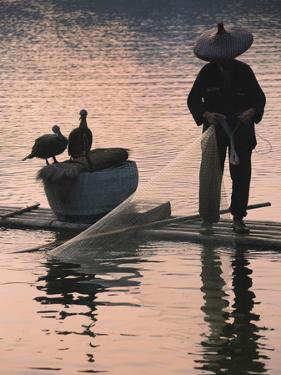 Fisherman Fishing with Cormorants on Bamboo Raft on Li River at Dusk, Yangshuo, Guangxi, China by Keren Su