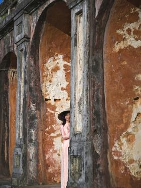 Girl in Ao Dai (Traditional Vietnamese Long Dress) and Conical Hat, Tomb of King Khai Dinh, Vietnam by Keren Su