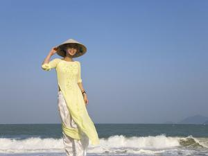 Girl with Conical Hat on the Beach, Vietnam by Keren Su