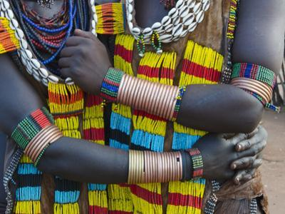 Hamar tribe, people in traditional clothing, Hamar Village, South Omo, Ethiopia