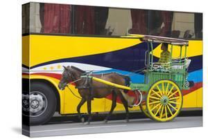 Horse Cart Walk by Colorfully Painted Bus, Manila, Philippines by Keren Su