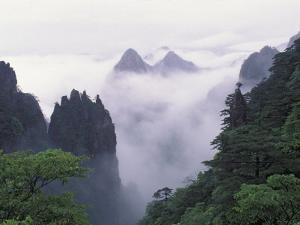 Landscape of Mt. Huangshan (Yellow Mountain) in Mist, China by Keren Su