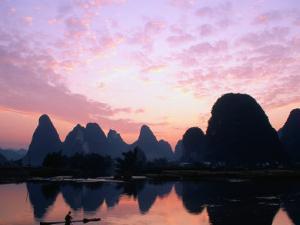 Mountains on the Li River at Sunrise, Yangshuo, China by Keren Su