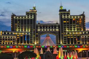 Night view of the headquarters of KazMunayGas and Khan Shatyr. Astana, Kazakhstan. by Keren Su