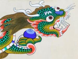 Painting of Dragon, Thimphu, Bhutan by Keren Su