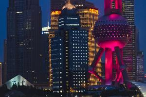 Pudong skyline dominated by Oriental Pearl TV Tower, Shanghai, China by Keren Su