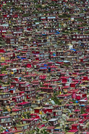 Red log cabins, Seda Larung Wuming, Garze, Sichuan Province, China