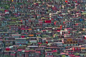 Red log cabins, Seda Larung Wuming, Garze, Sichuan Province, China by Keren Su