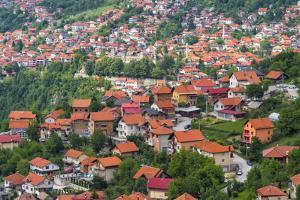 Red roof houses on the hill side, Sarajevo, Bosnia and Herzegovina by Keren Su