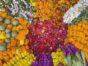 Selling Flowers for Diwali, Festival of Lights, Varanasi, India by Keren Su