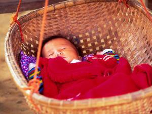 Sleeping Baby in Hanging Basket, Hue, Vietnam by Keren Su