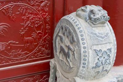 Stone statue in ancient Guangyuelou Tower, Liaocheng, Shandong Province, China