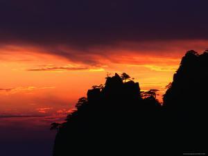 Sunset Over Mt. Huang Shan (Yellow Mountain) Near Tangkou Village, Tanggu, China by Keren Su