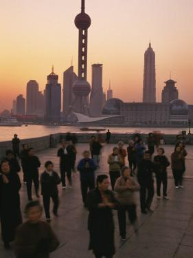 Tai-Chi on the Bund, Oriental Pearl TV Tower and High Rises, Shanghai, China by Keren Su
