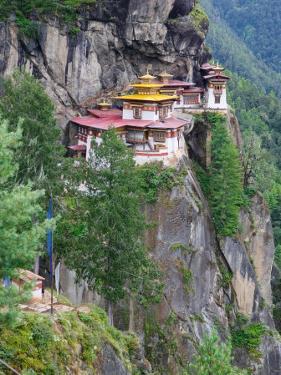 Taktsang (Tiger's Nest) Dzong Perched on Edge of Steep Cliff, Paro Valley, Bhutan by Keren Su