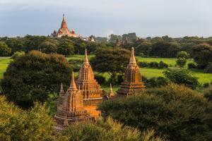 Temples in the Jungle at Sunrise, Bagan, Mandalay Region, Myanmar by Keren Su