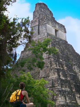 Western Traveler with Temple I, Tikal Ruins, Guatemala by Keren Su