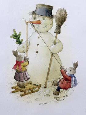 Snowman and Hares, 1999 by Kestutis Kasparavicius