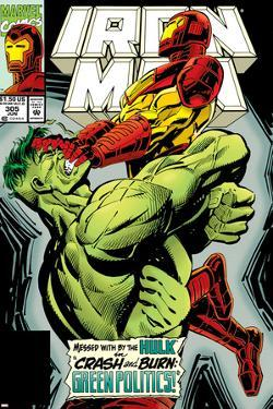 Iron Man No.305 Cover: Iron Man and Hulk Fighting by Kev Hopgood