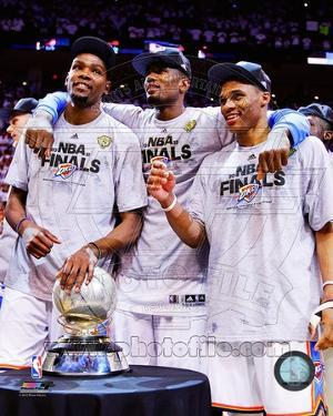 Kevin Durant, Serge Ibaka, & Russell Westbrook with the 2012 NBA WCFC Game 6