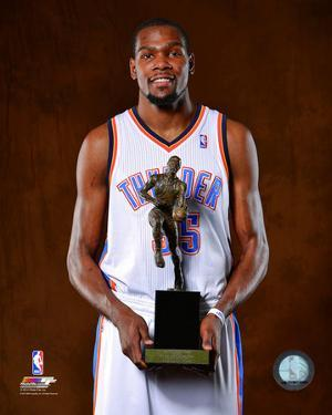 Kevin Durant with the 2014 NBA MVP Trophy