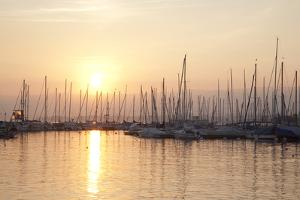 Boats on Lake Geneva; Lausanne by Kevin George