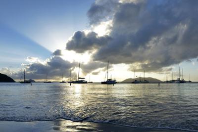 British Virgin Islands, Sandy Cay, Tortola. Sailboats at Anchor in Cane Garden Bay