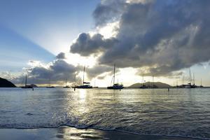 British Virgin Islands, Sandy Cay, Tortola. Sailboats at Anchor in Cane Garden Bay by Kevin Oke