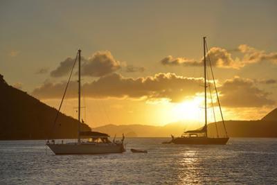 British Virgin Islands, Tortola. Caribbean Sunset with Sailboats at Soper's Hole, West End