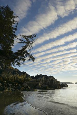 Canada, B.C, Vancouver Island. Clouds Above Tonquin Beach, Tofino