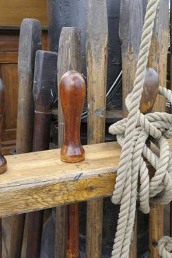 Canada, B.C, Victoria. Wooden Pegs and Rigging on the Hms Bounty by Kevin Oke