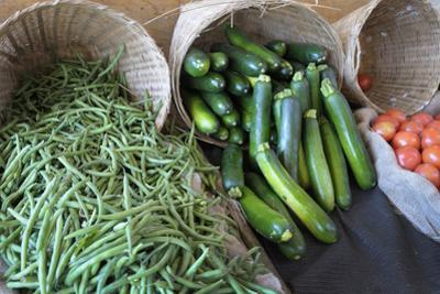 Canada, British Columbia, Cowichan Valley. Green Beans and Zucchini in Wicker Baskets